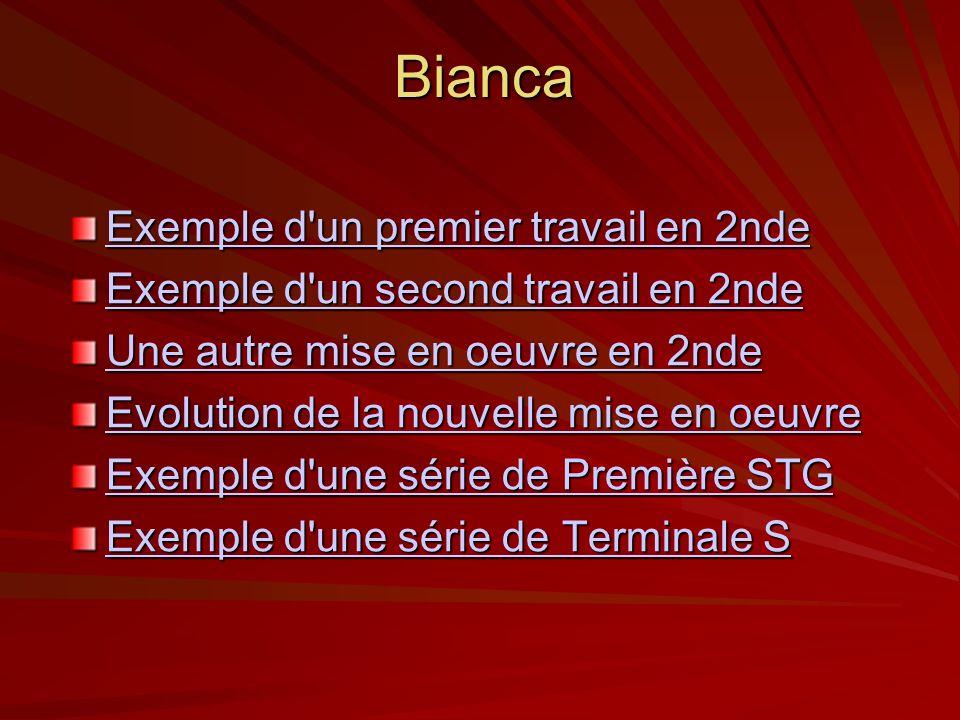 Bianca Exemple d un premier travail en 2nde