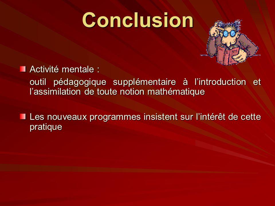 Conclusion Activité mentale :