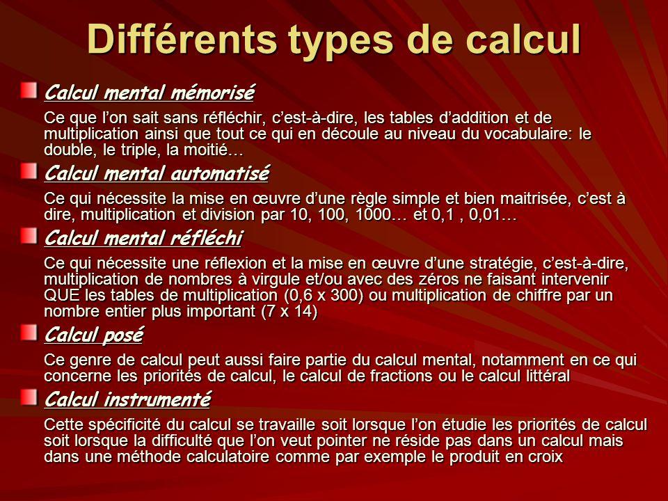 Différents types de calcul