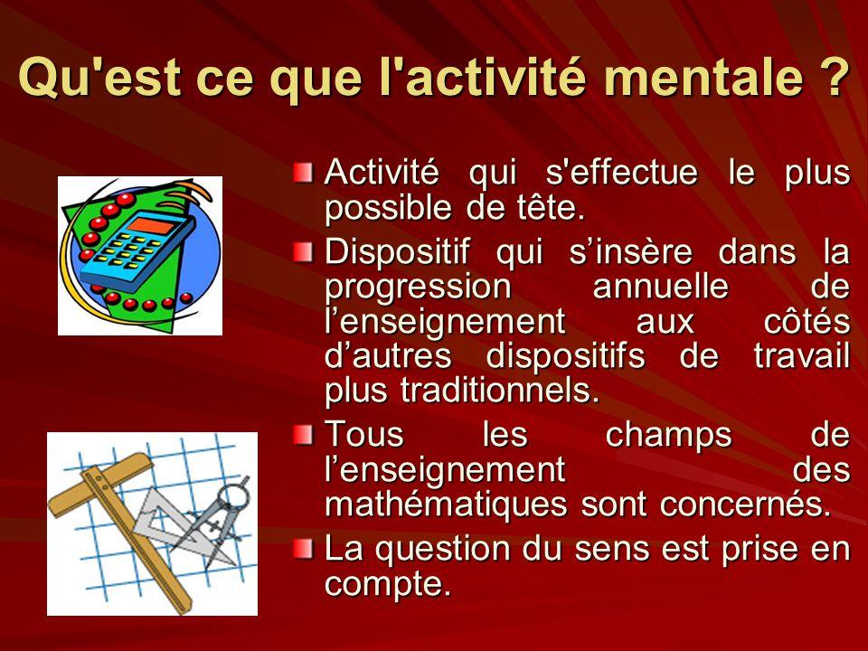 Qu est ce que l activité mentale