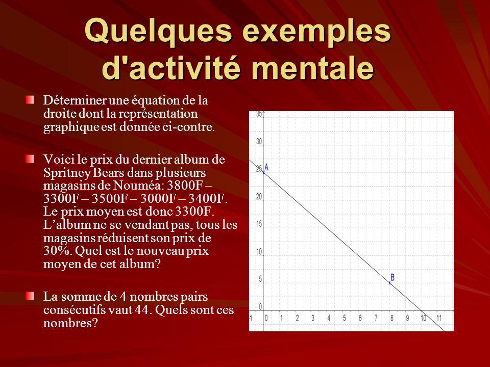 Quelques exemples d activité mentale