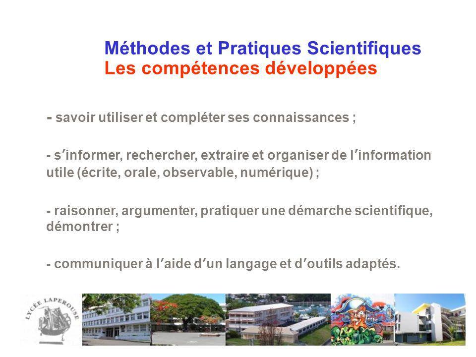 Méthodes et Pratiques Scientifiques Les compétences développées