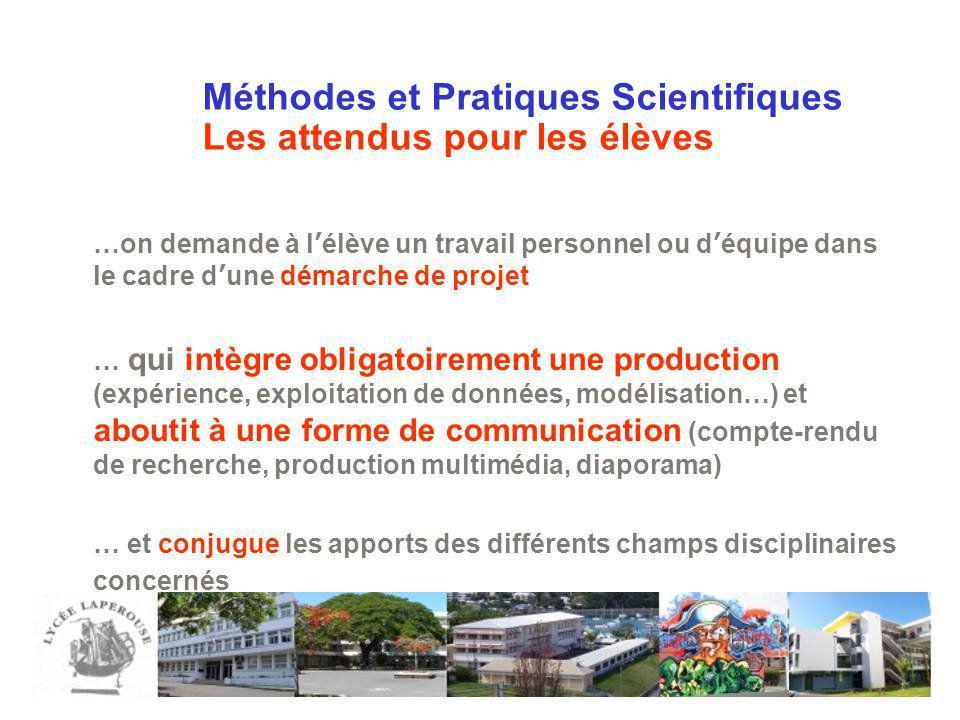 Méthodes et Pratiques Scientifiques Les attendus pour les élèves