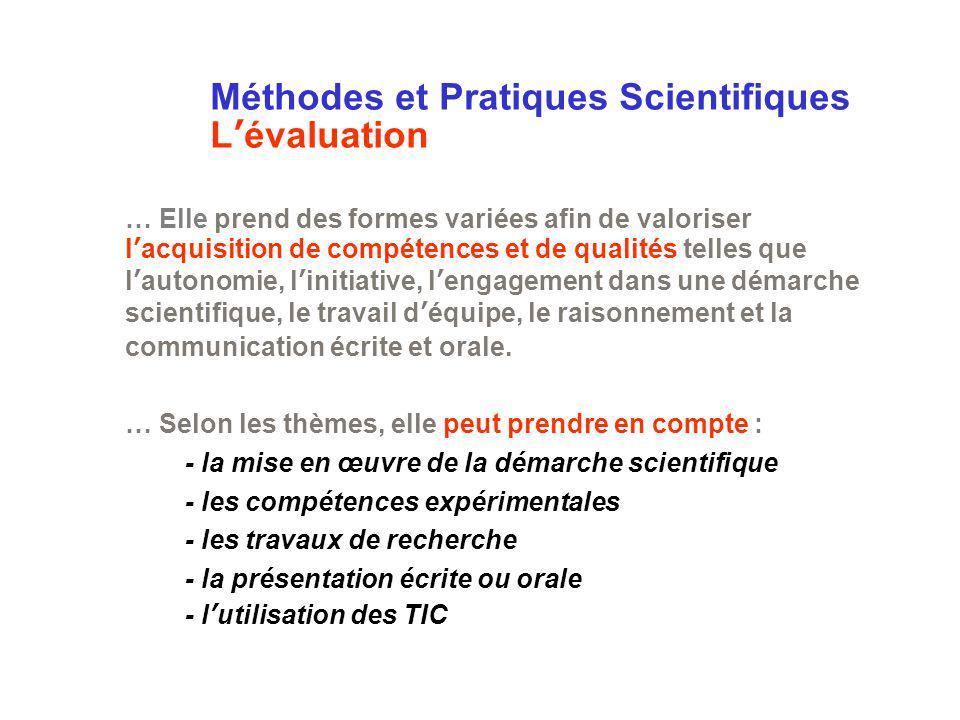 Méthodes et Pratiques Scientifiques L'évaluation