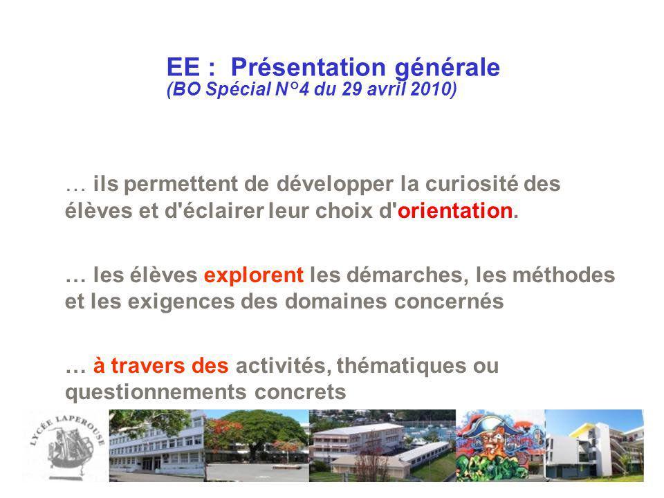 EE : Présentation générale (BO Spécial N°4 du 29 avril 2010)
