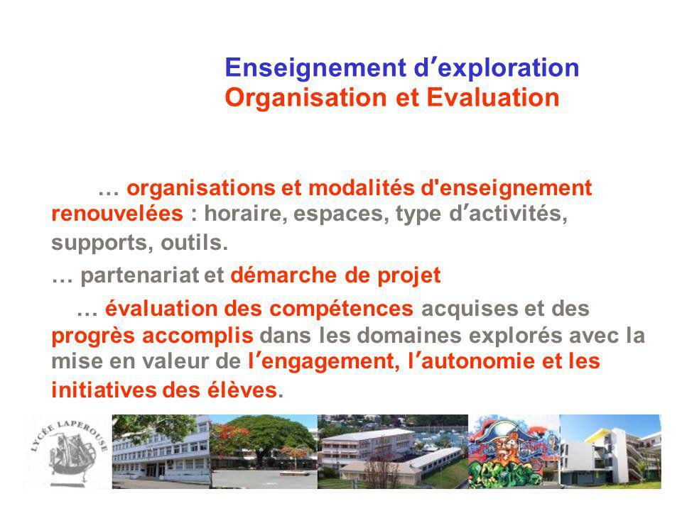 Enseignement d'exploration Organisation et Evaluation