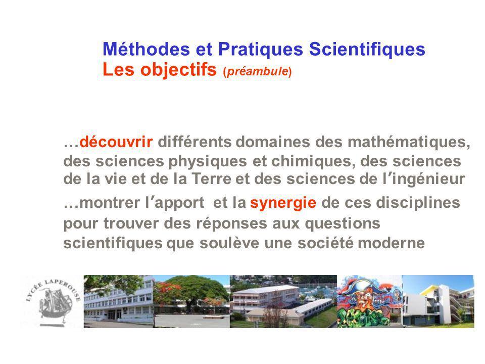 Méthodes et Pratiques Scientifiques Les objectifs (préambule)