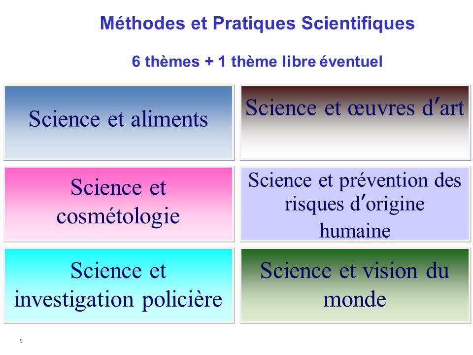 Méthodes et Pratiques Scientifiques 6 thèmes + 1 thème libre éventuel