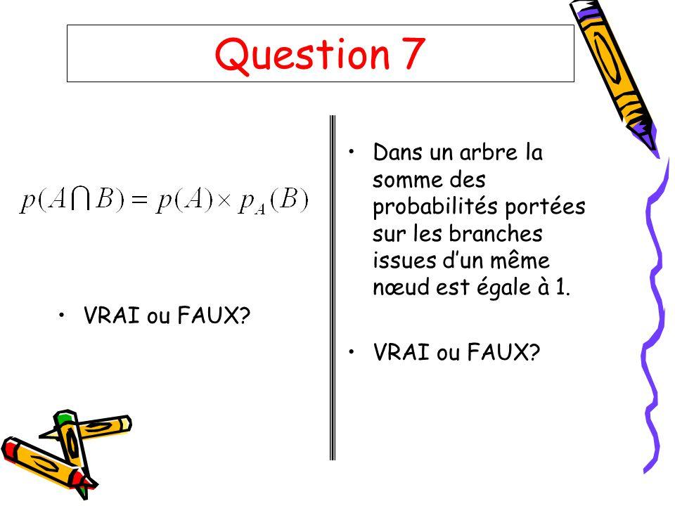 Question 7 VRAI ou FAUX Dans un arbre la somme des probabilités portées sur les branches issues d'un même nœud est égale à 1.