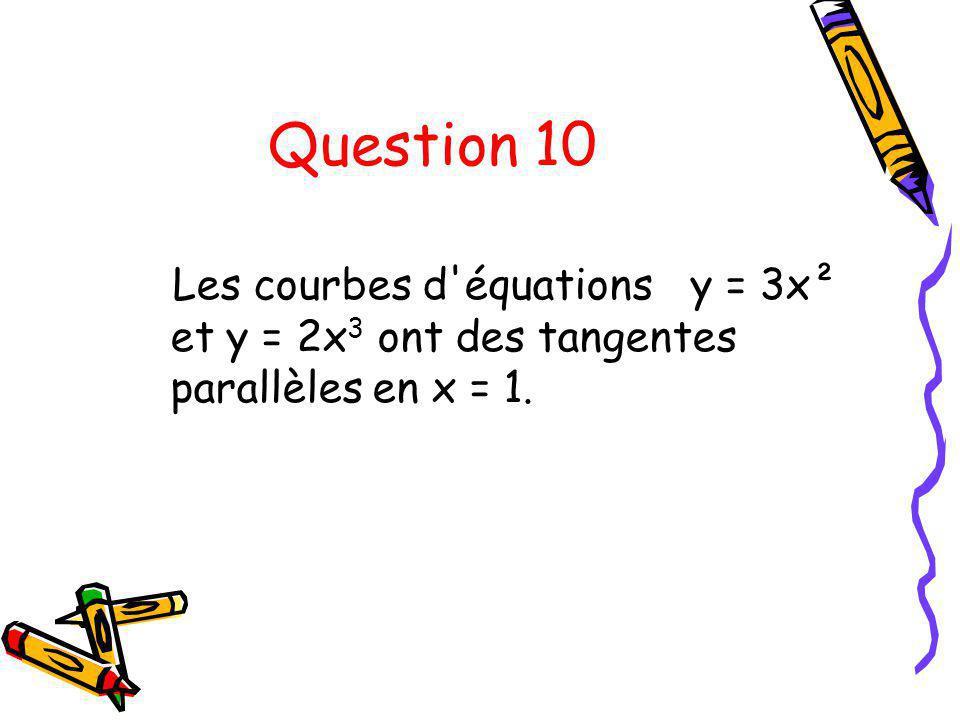 Question 10 Les courbes d équations y = 3x² et y = 2x3 ont des tangentes parallèles en x = 1.