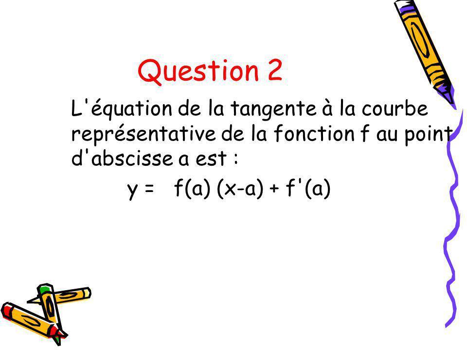 Question 2 L équation de la tangente à la courbe représentative de la fonction f au point d abscisse a est :