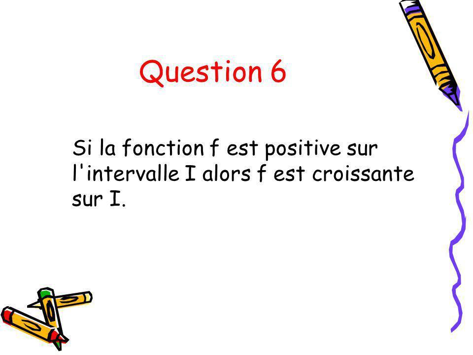 Question 6 Si la fonction f est positive sur l intervalle I alors f est croissante sur I.