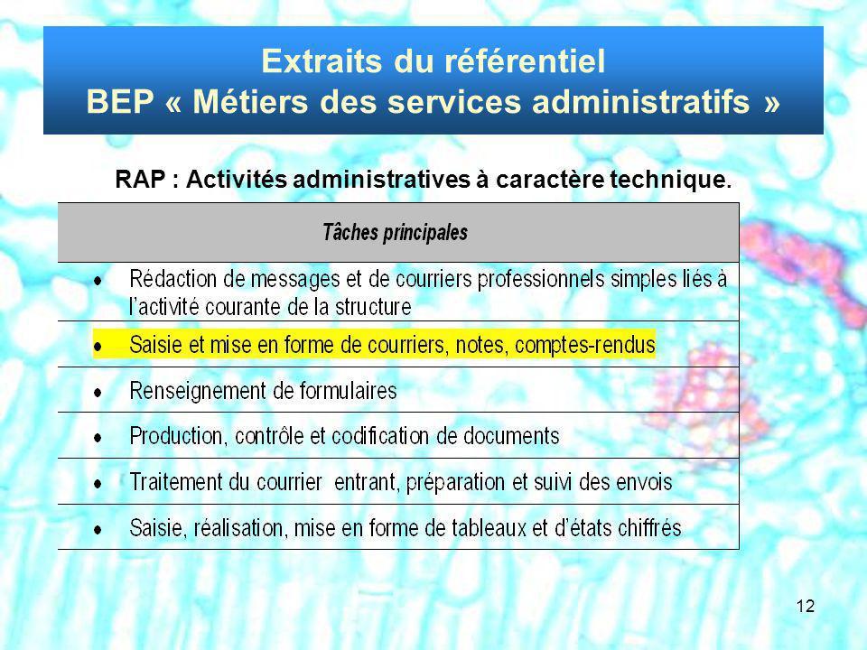 Extraits du référentiel BEP « Métiers des services administratifs »