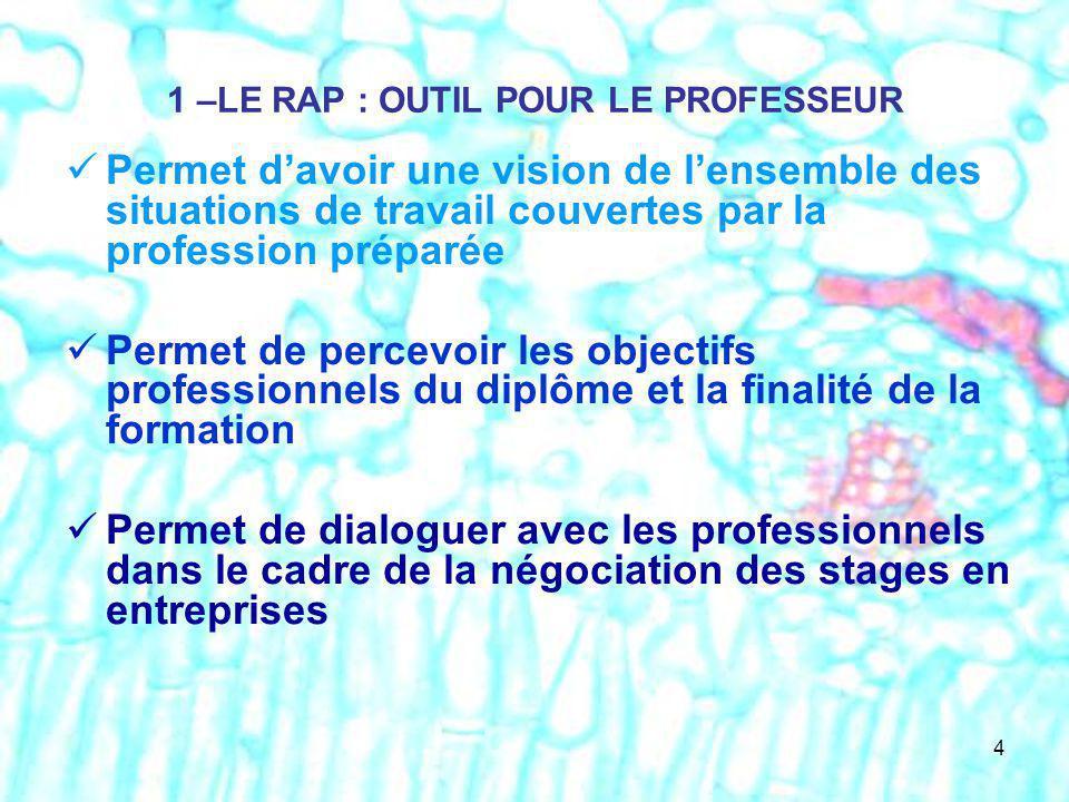 1 –LE RAP : OUTIL POUR LE PROFESSEUR