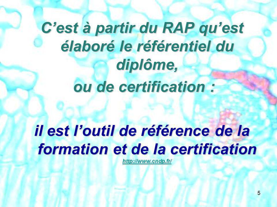 C'est à partir du RAP qu'est élaboré le référentiel du diplôme,