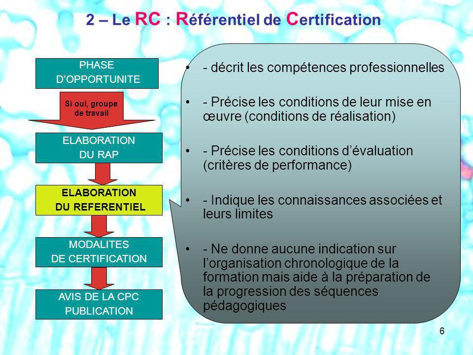 2 – Le RC : Référentiel de Certification