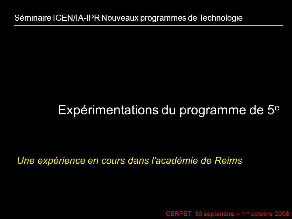 Expérimentations du programme de 5e