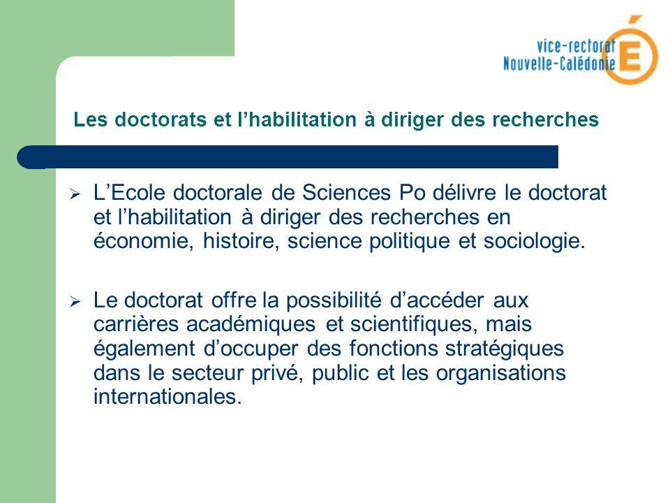 Les doctorats et l'habilitation à diriger des recherches
