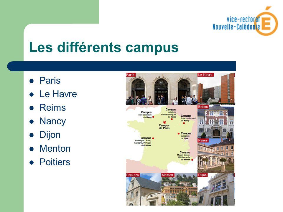 Les différents campus Paris Le Havre Reims Nancy Dijon Menton Poitiers