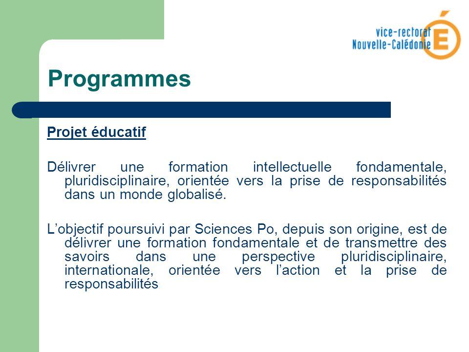 Programmes Projet éducatif