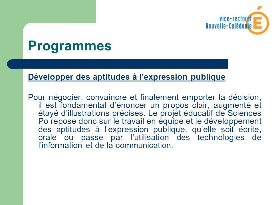Programmes Développer des aptitudes à l'expression publique