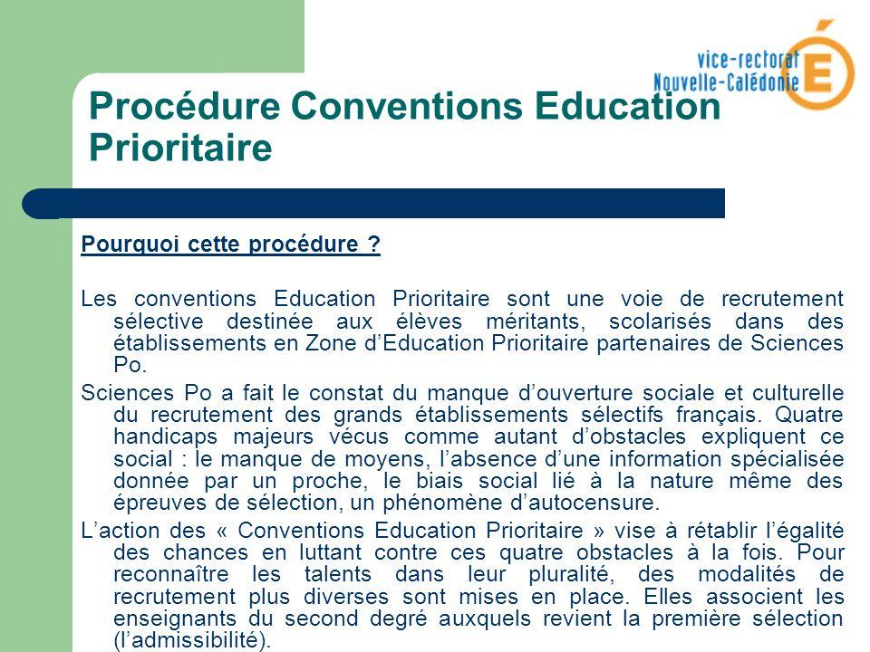 Procédure Conventions Education Prioritaire