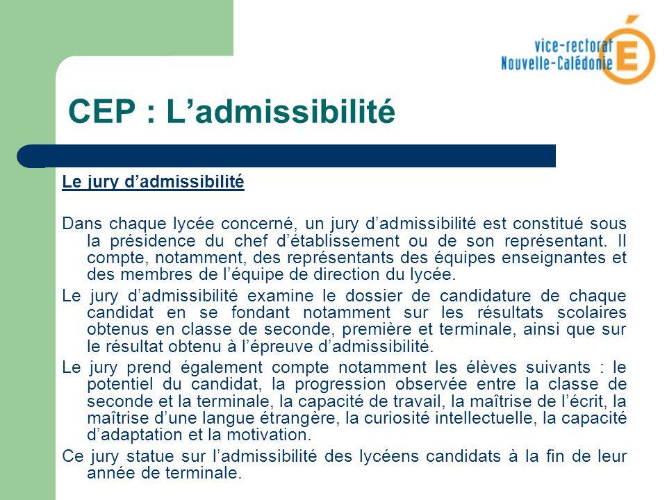CEP : L'admissibilité Le jury d'admissibilité