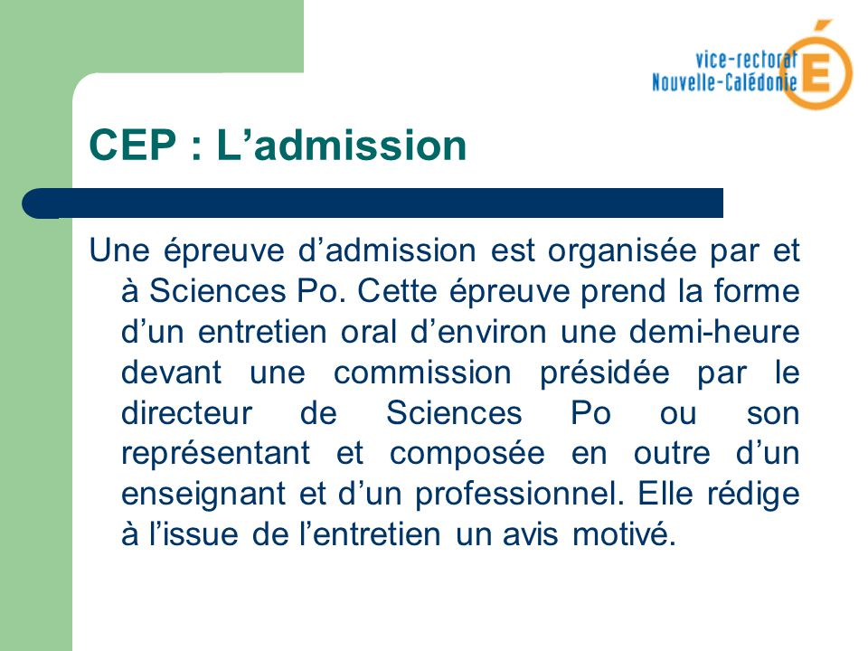 CEP : L'admission