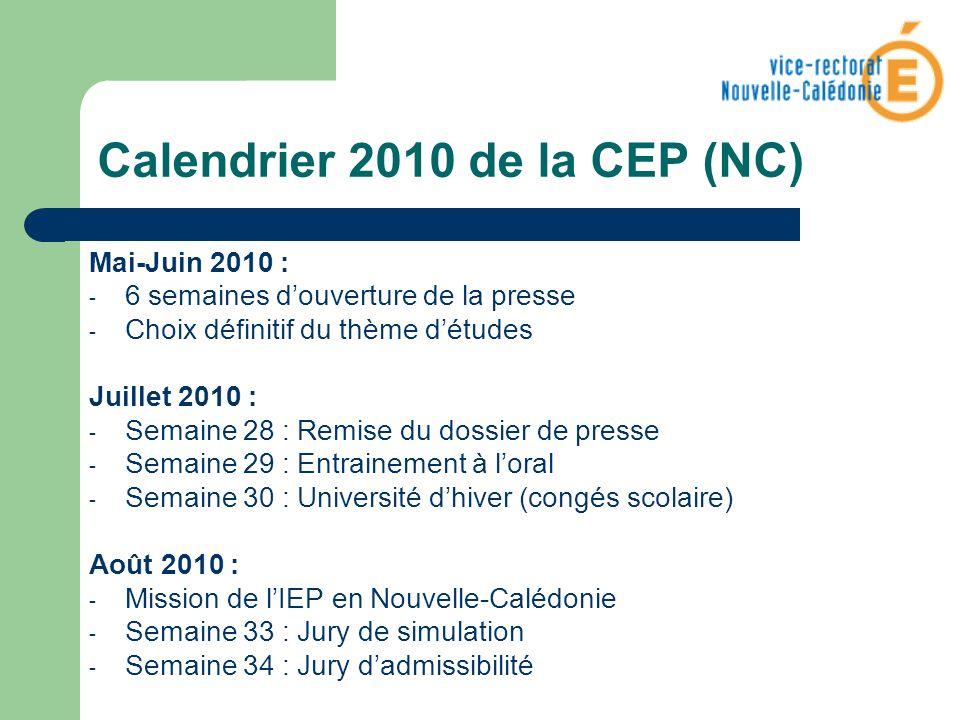 Calendrier 2010 de la CEP (NC)