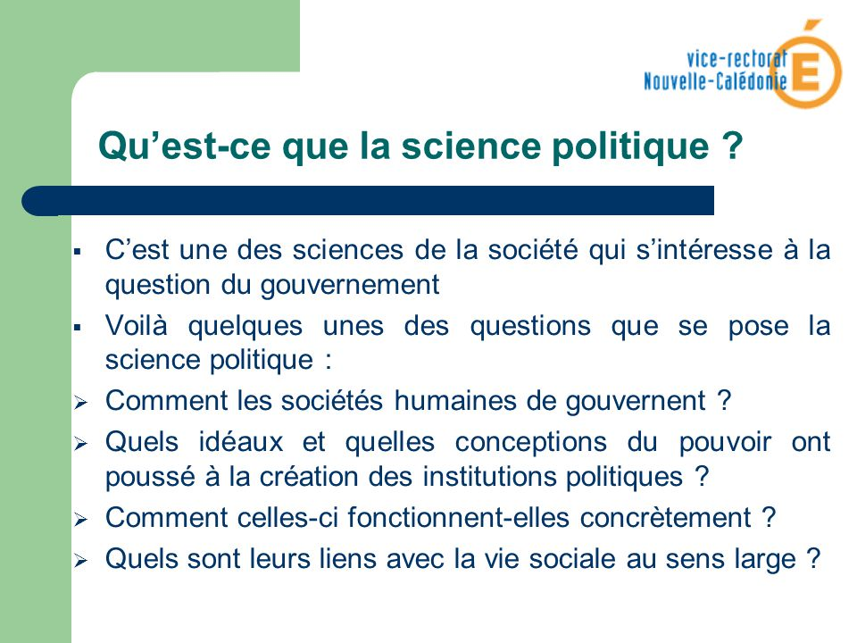 Qu'est-ce que la science politique