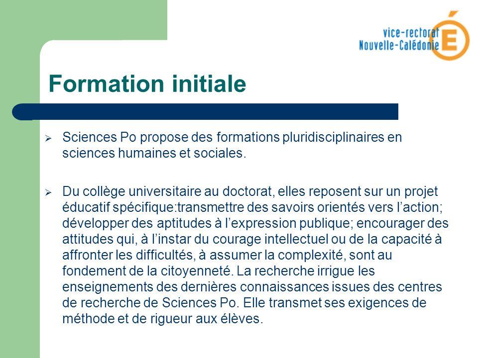 Formation initiale Sciences Po propose des formations pluridisciplinaires en sciences humaines et sociales.