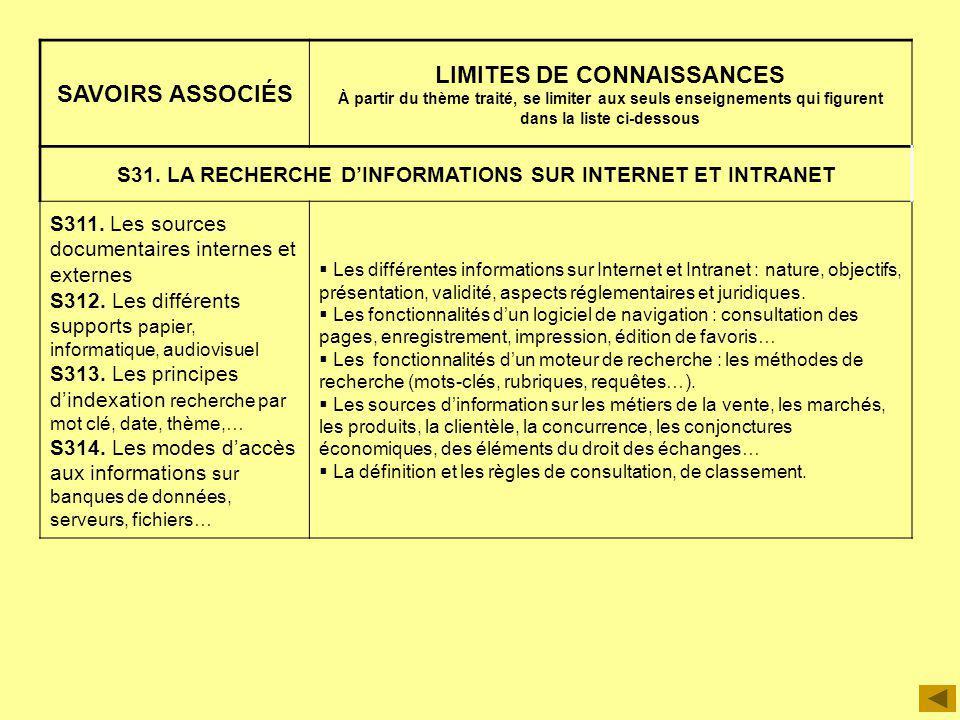 S31. LA RECHERCHE D'INFORMATIONS SUR INTERNET ET INTRANET