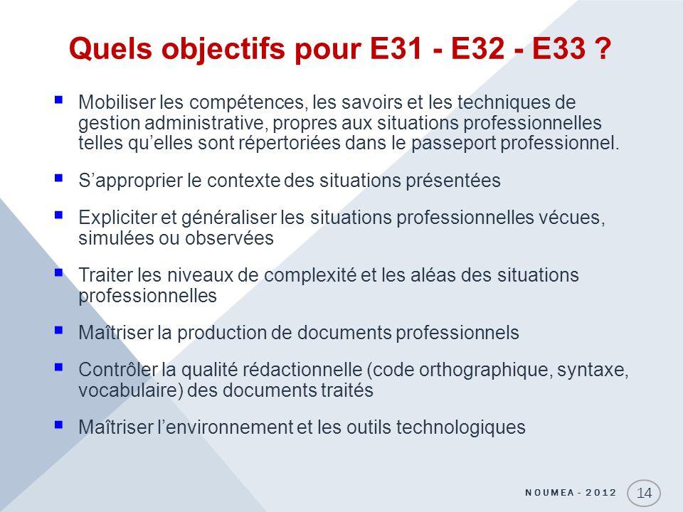Quels objectifs pour E31 - E32 - E33