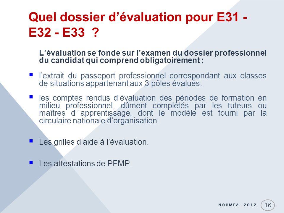 Quel dossier d'évaluation pour E31 - E32 - E33