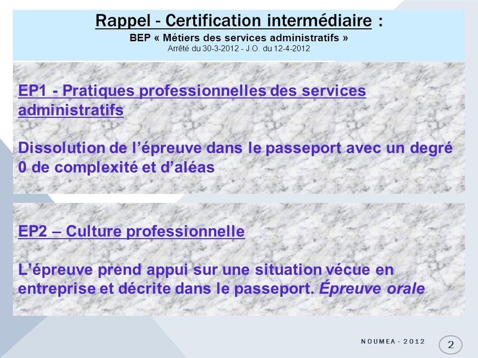 Rappel - Certification intermédiaire : BEP « Métiers des services administratifs » Arrêté du 30-3-2012 - J.O. du 12-4-2012