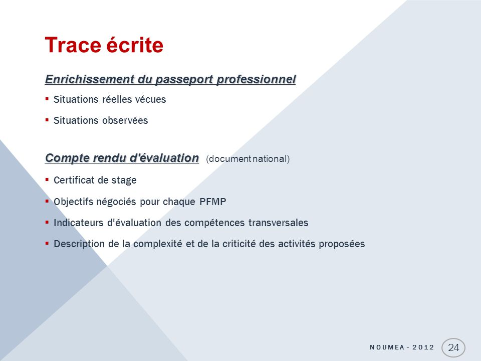 Trace écrite Enrichissement du passeport professionnel
