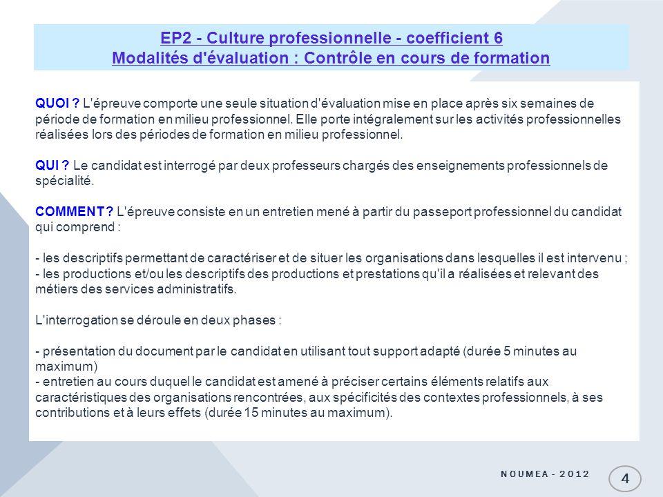 EP2 - Culture professionnelle - coefficient 6 Modalités d évaluation : Contrôle en cours de formation