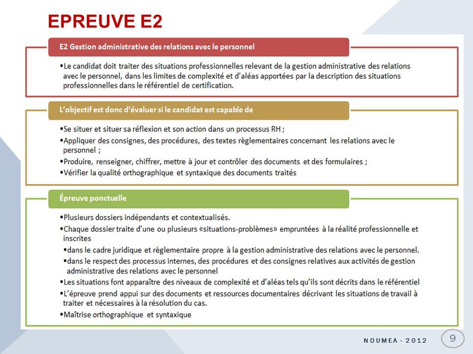 EPREUVE E2 9 NOUMEA - 2012