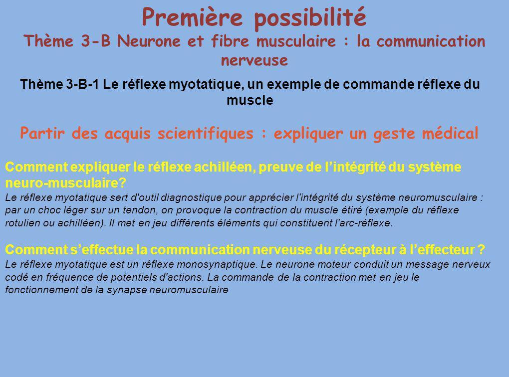 Première possibilité Thème 3-B Neurone et fibre musculaire : la communication nerveuse.