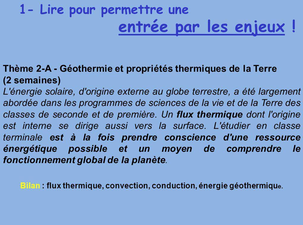 Bilan : flux thermique, convection, conduction, énergie géothermique.
