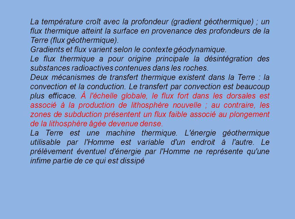 La température croît avec la profondeur (gradient géothermique) ; un flux thermique atteint la surface en provenance des profondeurs de la Terre (flux géothermique).