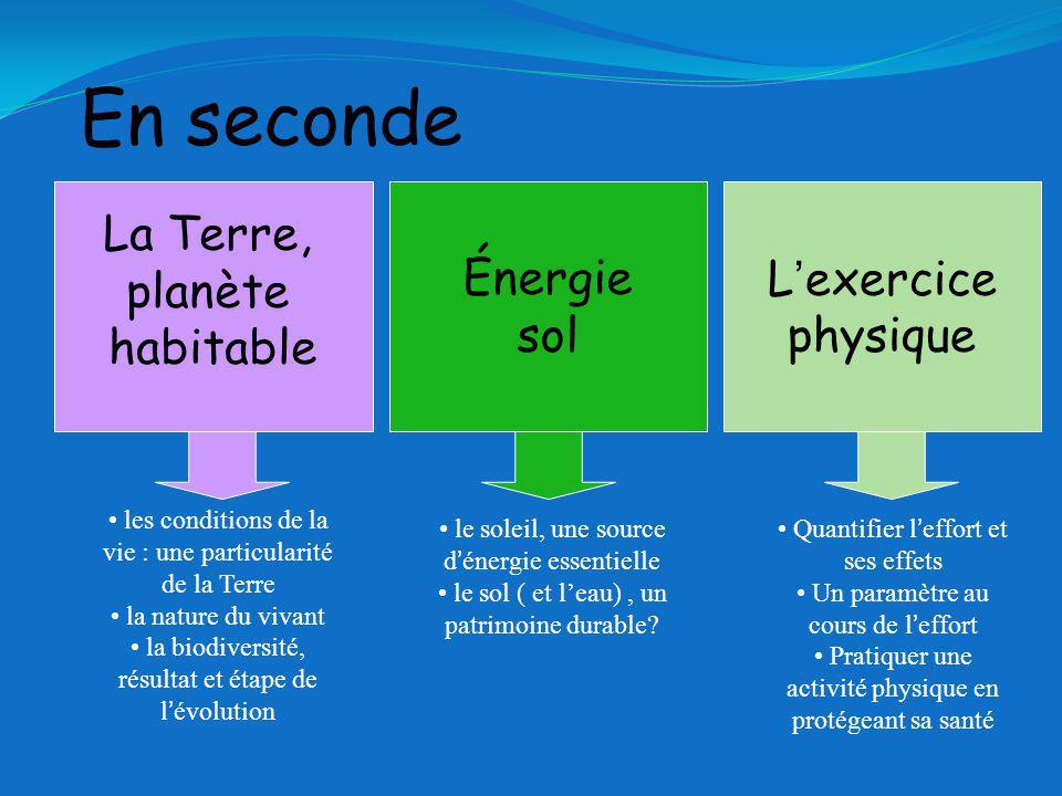 En seconde La Terre, planète habitable Énergie sol L'exercice physique