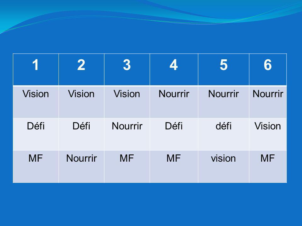 1 2 3 4 5 6 Vision Nourrir Défi défi MF vision