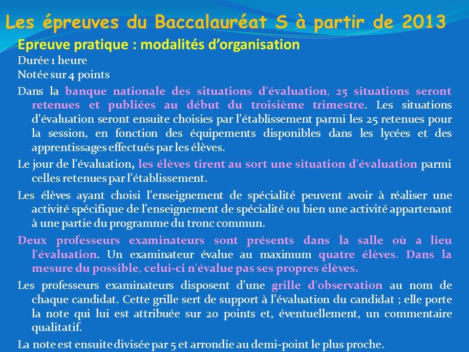 Les épreuves du Baccalauréat S à partir de 2013