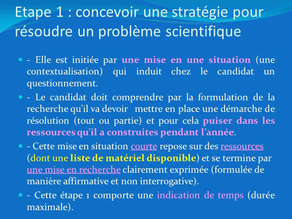 Etape 1 : concevoir une stratégie pour résoudre un problème scientifique