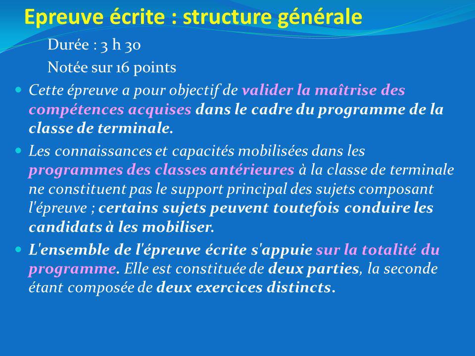 Epreuve écrite : structure générale