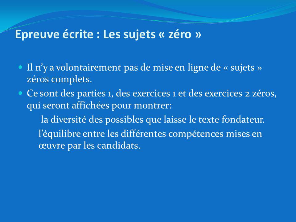 Epreuve écrite : Les sujets « zéro »