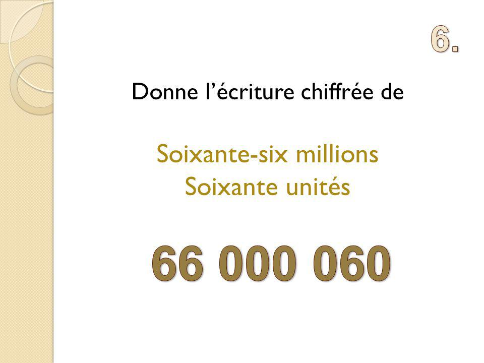 66 000 060 6. Soixante-six millions Soixante unités