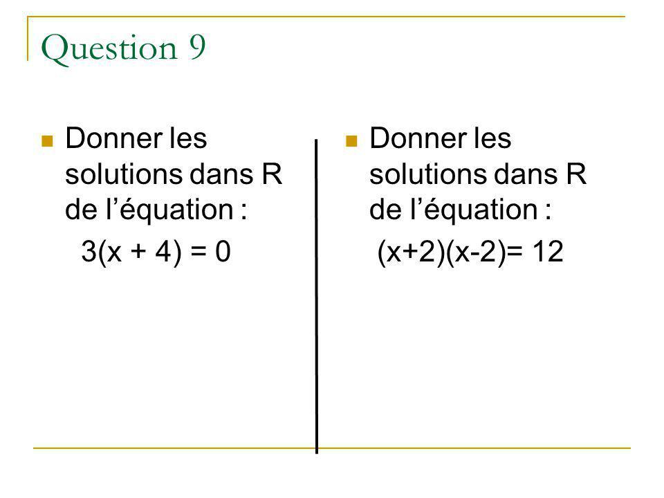 Question 9 Donner les solutions dans R de l'équation : 3(x + 4) = 0