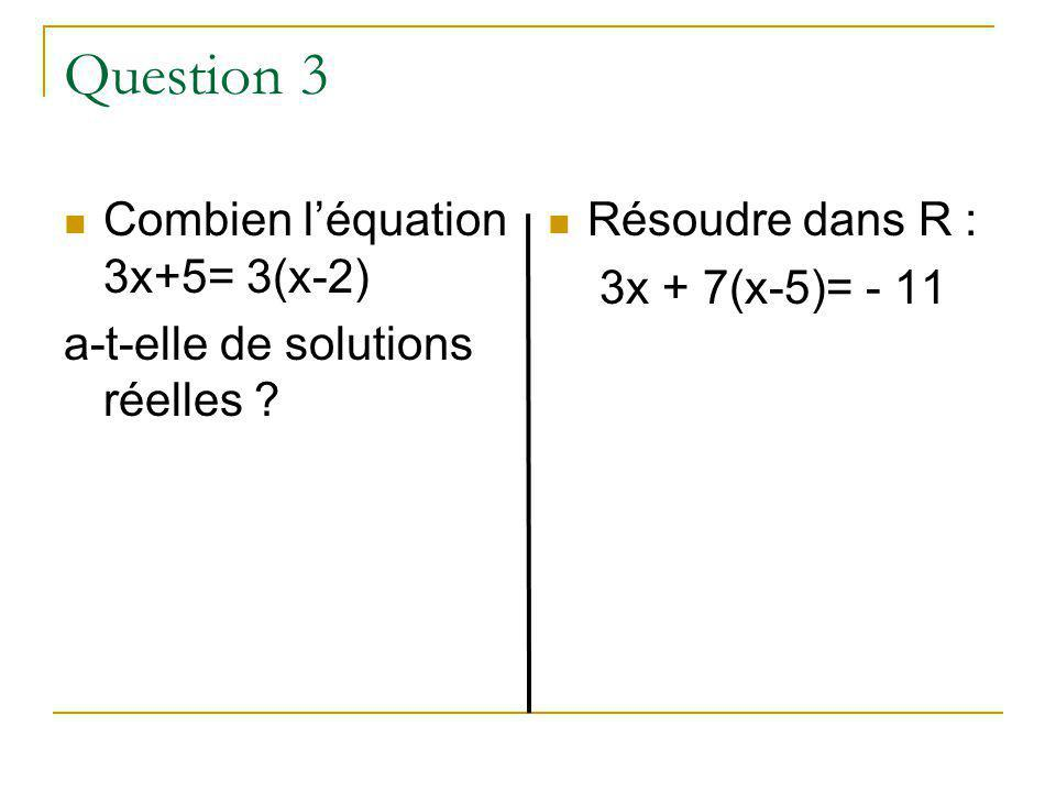 Question 3 Combien l'équation 3x+5= 3(x-2)